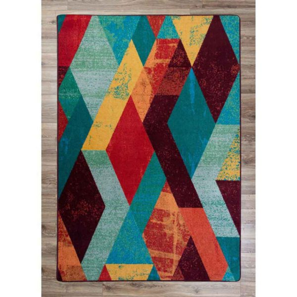 Red, yellow, and turquoise diamonds pattern rug