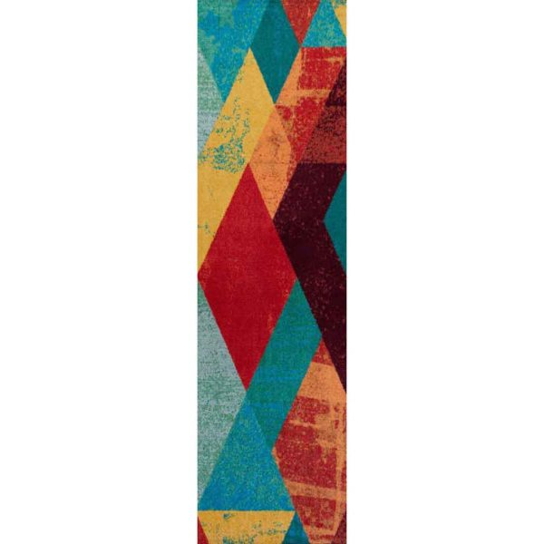 Bold and colorful modern area runner rug