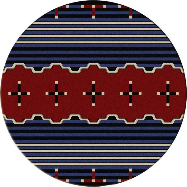 Round area rug with Southwestern designs in red, black, and white
