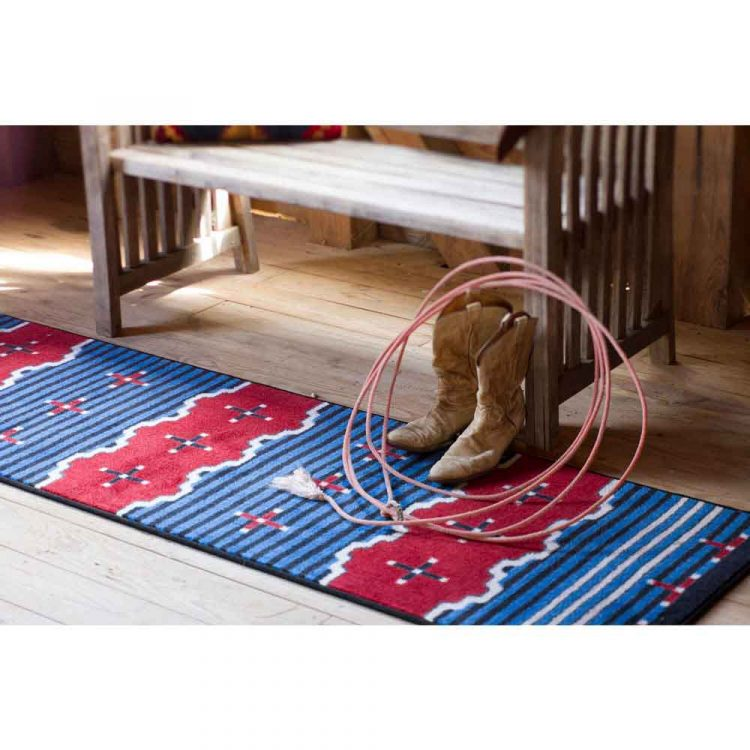Big Chief is a Southwest runner rug in blue, red, and black