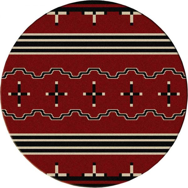 Red round rug with black and white Southwest prints