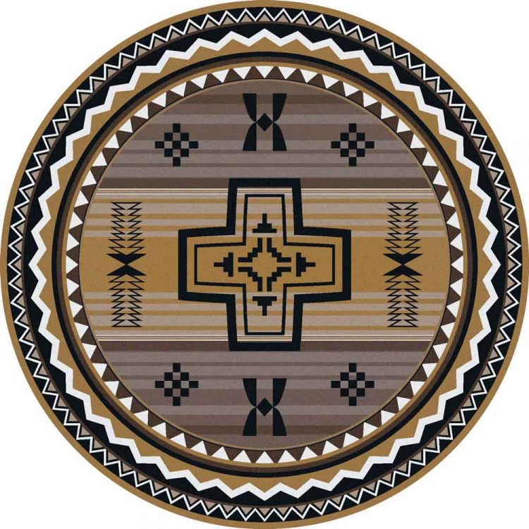 Round area rug with a Southwestern cross print in gold and gray