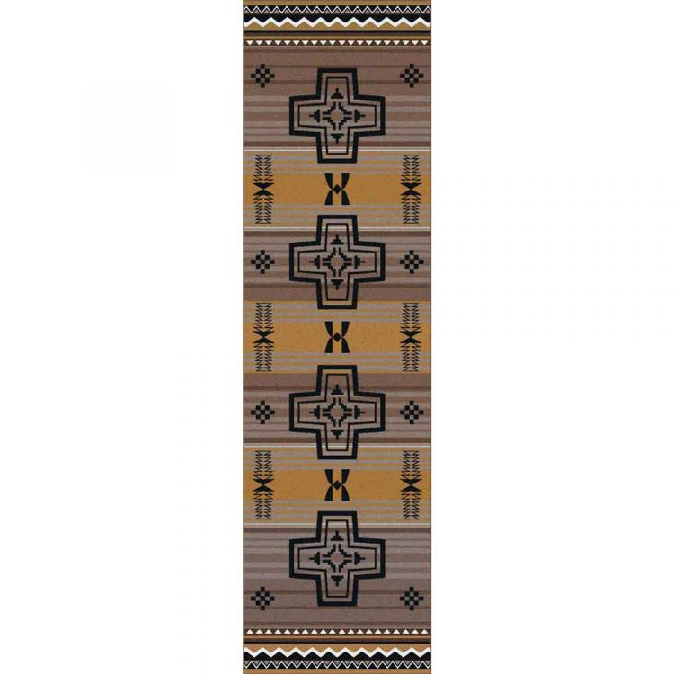 Runner rug with a cross pattern on a gold and gray background