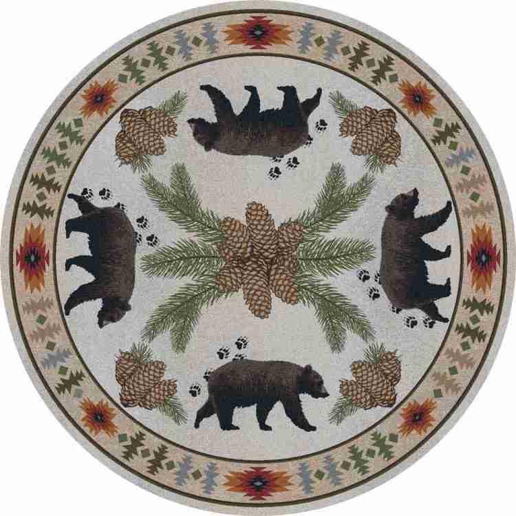 Bear rustic cabin round area rug