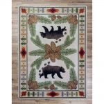 Brown bears and pine cones cabin area rug