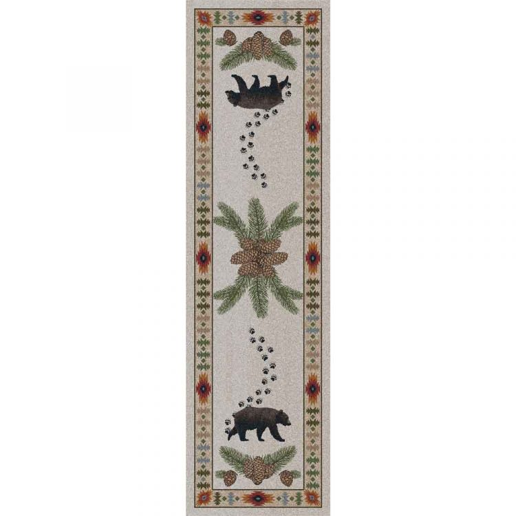 Rustic 2x8 nylon runner rug with bears and pine cones