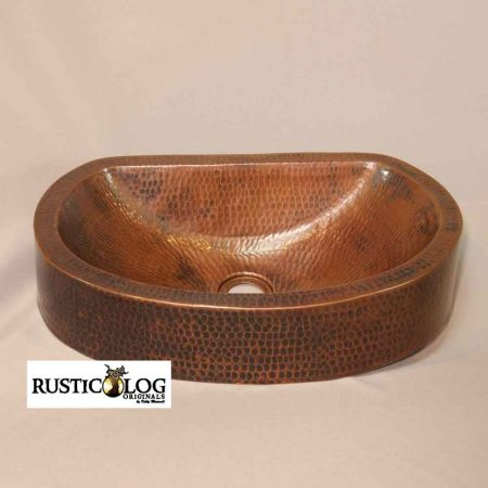 Artisan crafted half moon copper sink