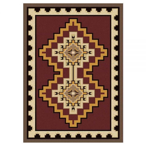 Red Southwestern rug with a geometric pattern inspired by Southwestern designs