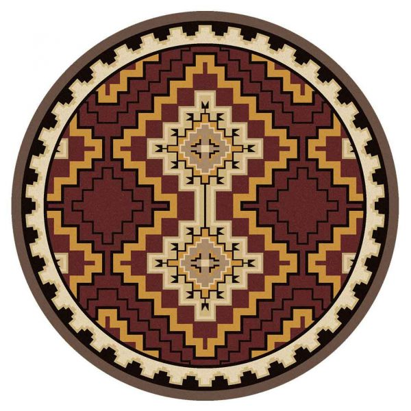 Round Southwestern rug in shades of maroon and yellow