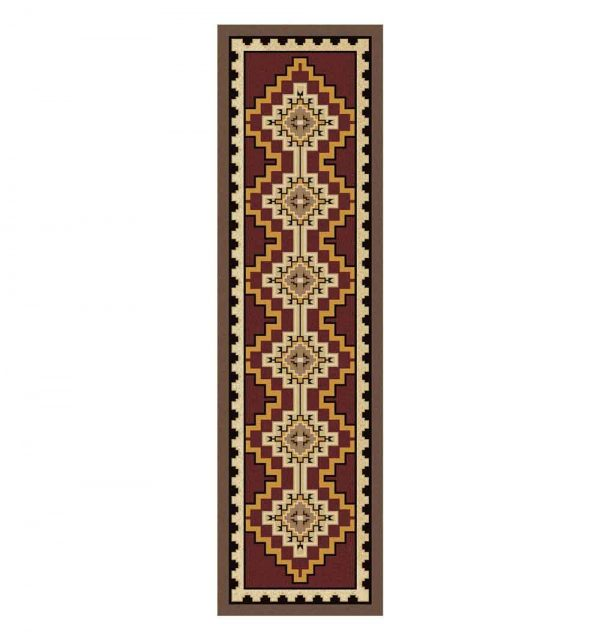 Red and brown area rug with Southwestern print