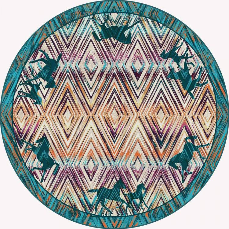 8ft round rug with horse silhouette and diamond pattern
