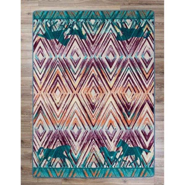 Multi color Area rug with horse silhouette on diamonds background