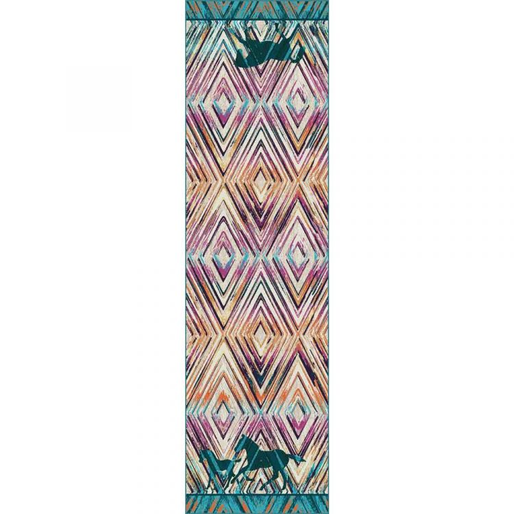 Runner rug with horse and diamond print in turquoise, orange, and purple