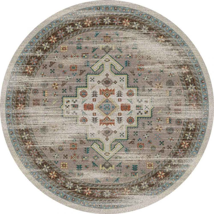 Round area rug with Persian inspired designs in neutral with turquoise accents and distressed effect