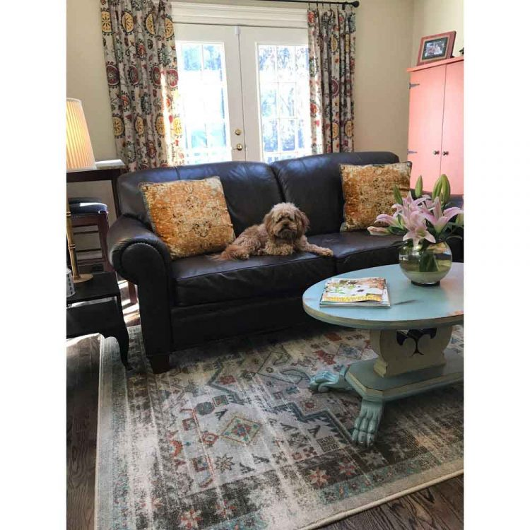 Living room with distressed Persian area rug