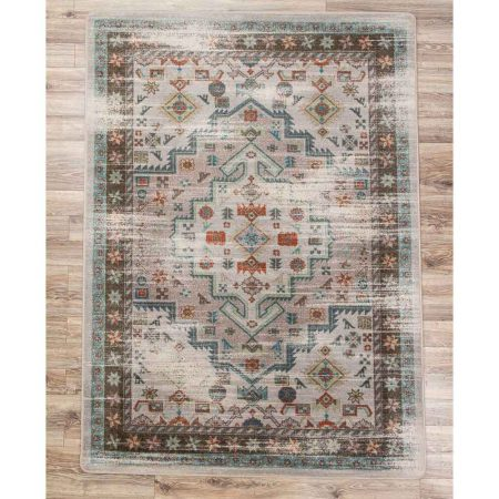 Distressed Persian Print Area Rug in tan, turquoise, and orange