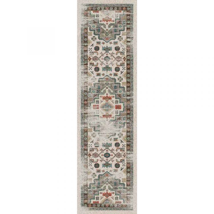 Persian rug with a distressed pattern in neutrals and turquoise
