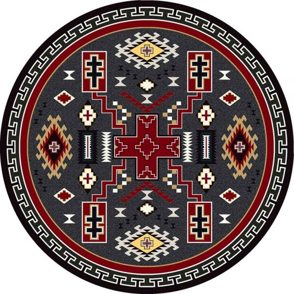 Round rug with multi cross pattern in red and gray
