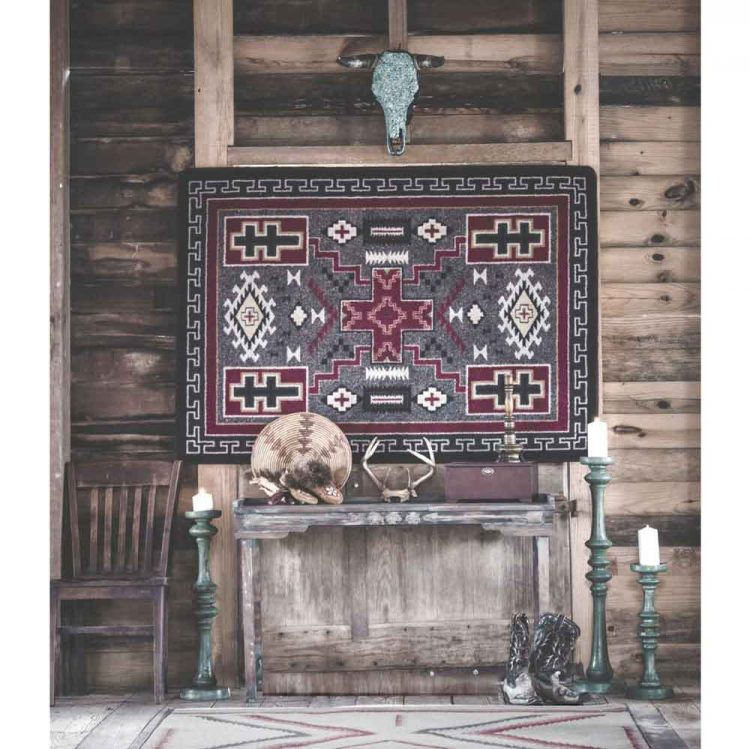 red and gray rug with crosses and Southwestern patterns