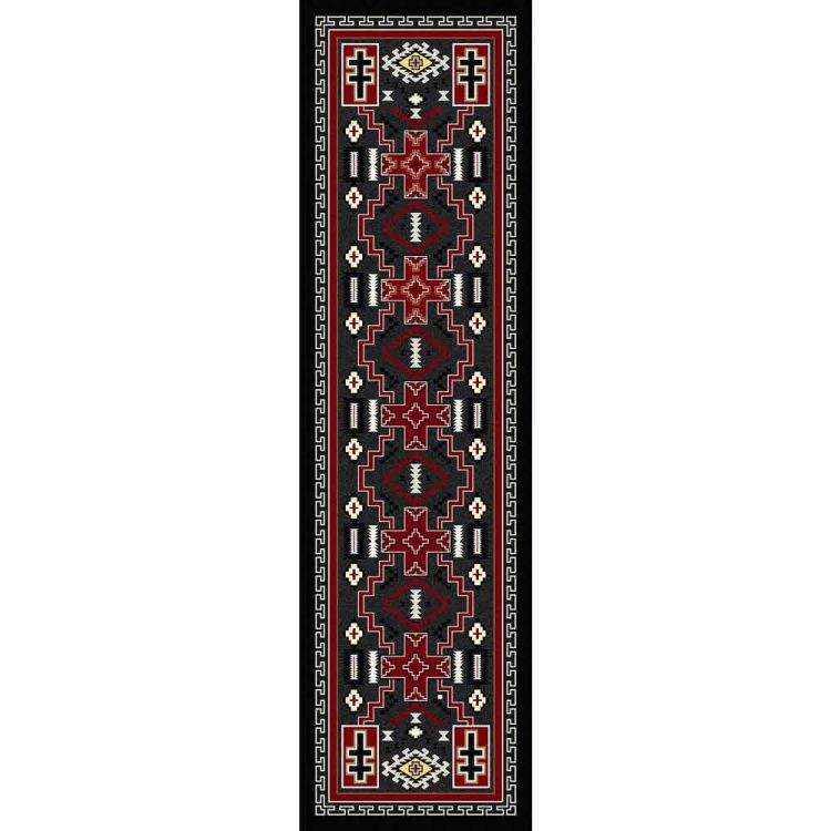 Southwestern rug with crosses in gray, red, and black