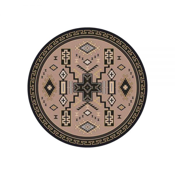Round area rug in tan and gray with cross and Southwestern prints
