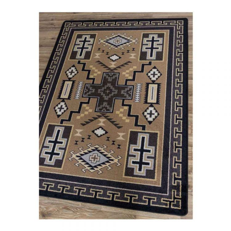 Beige and gray area rug with cross and Southwestern designs