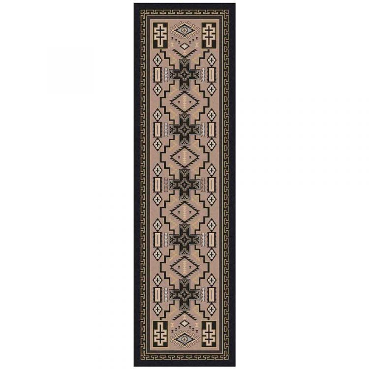 Beige and Gray Western Runner rug