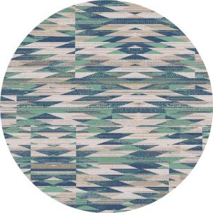 Modern graphic print round rug in turquoise and beige