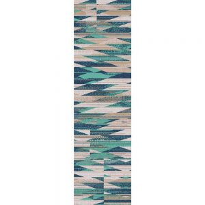 Modern graphic print runner in turquoise and beige