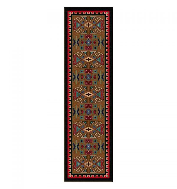 Southwestern area rug with a brown background and motifs in red, turquoise, black and beige