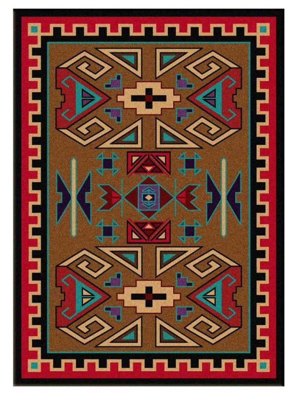 Brown rug with red and Turquoise Southwest Ram print
