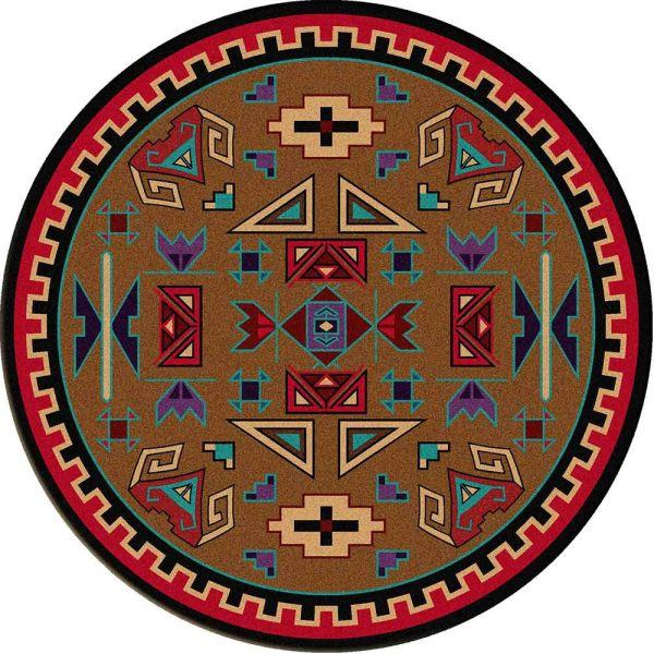 The print on this rug represents Rams in a Southwest style