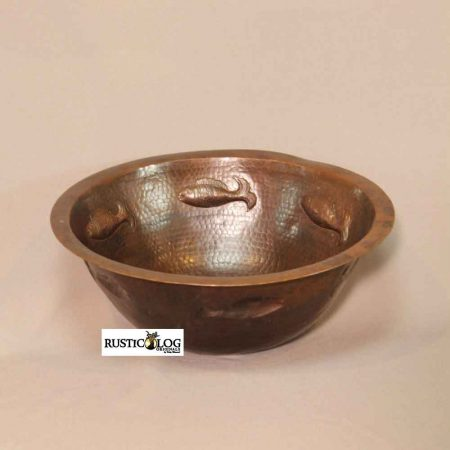 Flat Rim Round Copper Sink with Fish Design