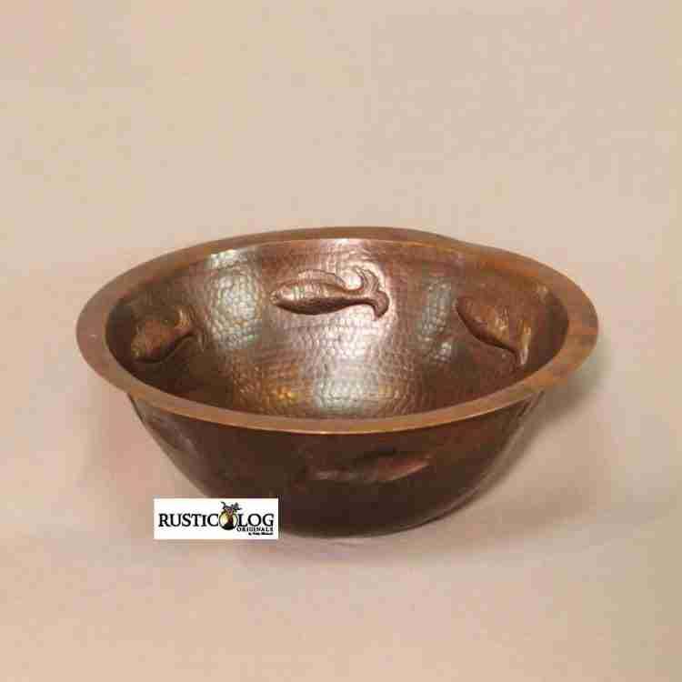 Flat Rim Round Copper Sink with Fish Design