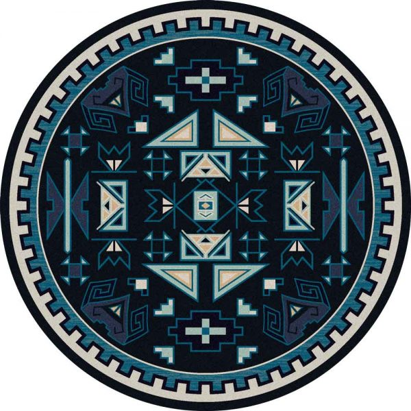 Round rug with Southwest motifs in multi shades of blue