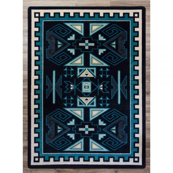 Dark blue and turquoise Southwestern area rug