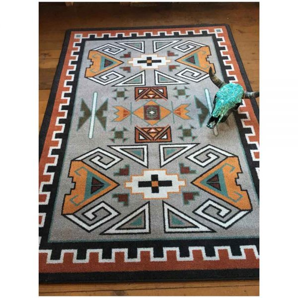 Rust and grey Southwest area rug