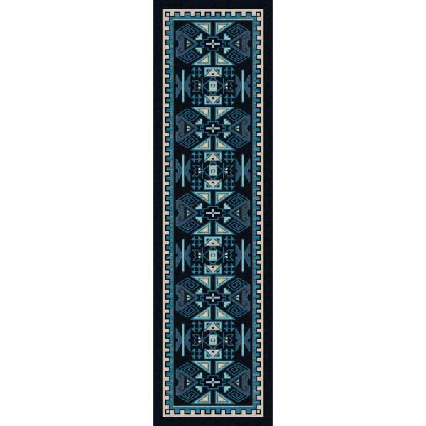 Multi shades of blue Southwest print runner rug