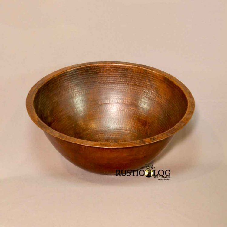 Flat Rim Round sink in hammered Copper With Natural Patina