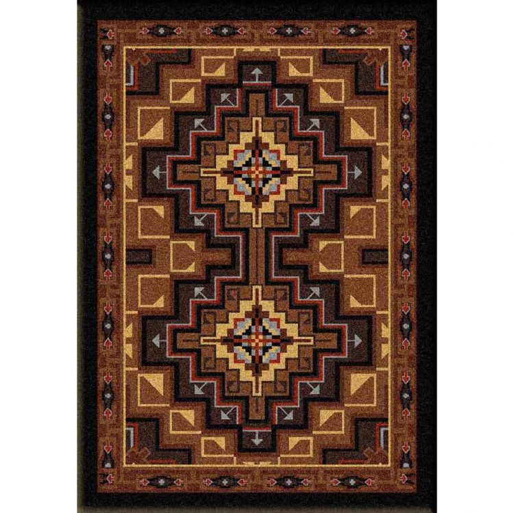 Graphic area rug in multiple shades of brown