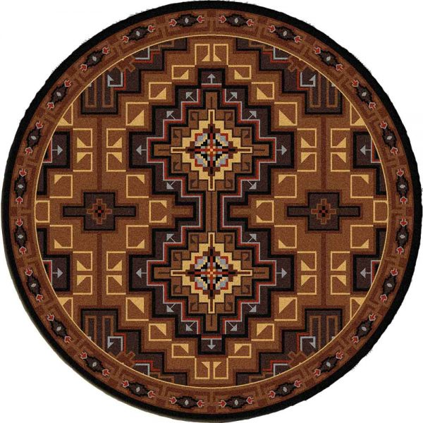 Brown area rug with a western pattern