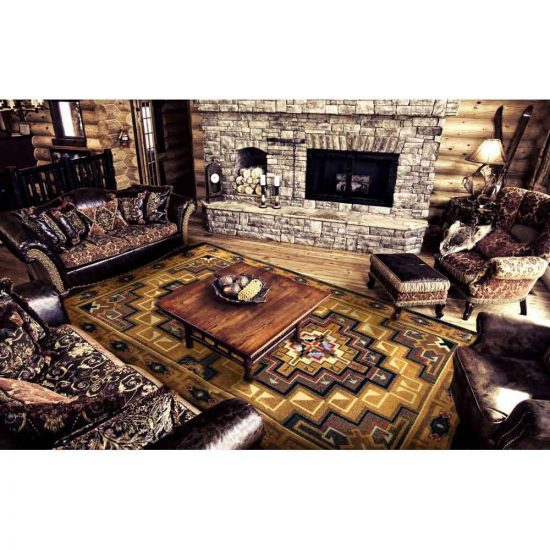 Living Room with leather chairs on brown area rug
