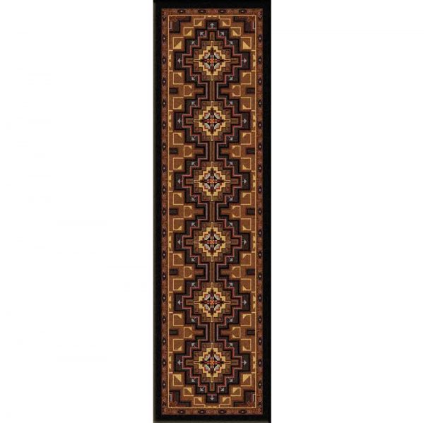 Runner rug with lozenge print in brown