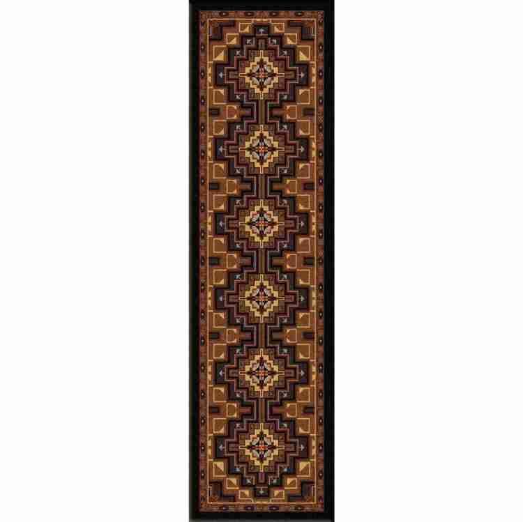 Runner rug with lozenge print in brown