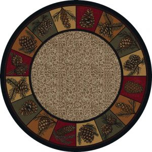 Fall themed round Cabin rug