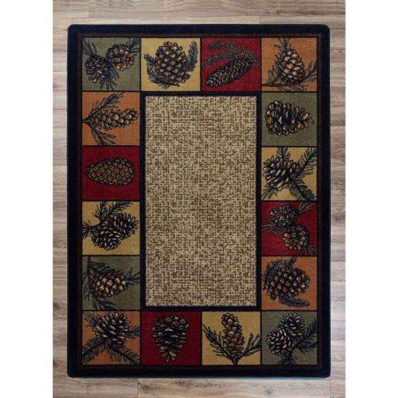 Pine cones border rustic rug