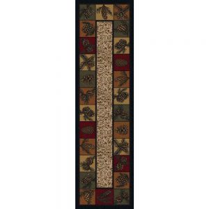 Runner rug with a mix of fall color border