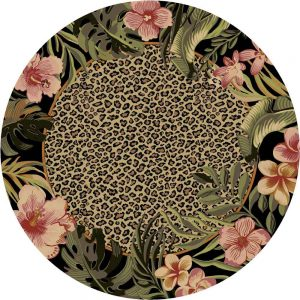 Round area rug with a leopard print center bordered by pink and green exotic flowers