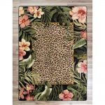 Leopard and tropical flower print area rug