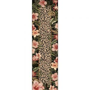 Runner rug with a tropical flower border and a leopard print center